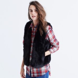 EUC Madewell Faux Fur Vest in Black